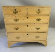 A 19th century pine chest of drawers. 94 cm wide x 94 cm high x 51 cm deep.