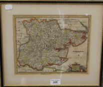 An 18th century map of Essex and a map of Norfolk, both framed and glazed. The former 27 x 22 cm.