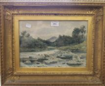 A 19th century watercolour, Mountainous Riverscape, signed S Bough and dated 1864,