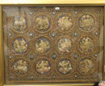 An embroidered Burmese malaga zodiac tapestry, framed and glazed. 102 x 78 cm.