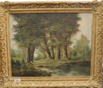 An oil on canvas, Trees Beside a River, indistinctly signed, framed. 49.5 x 39.5 cm.