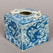 A Chinese blue and white porcelain water pot Of square section form,