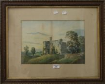 W LANGLEY, Castle Scene, watercolour, framed and glazed, 36 x 25 cm; together with Lake Landscape,