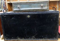 A 19th century Land Agents tin travelling desk box and a 19th century drawer. The former 66 cm wide.