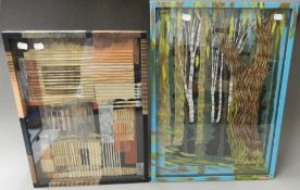 BARBARA McGIRR, two framed collages. The largest 40 x 56 cm.