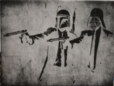 After BANKSY, Star Wars Pulp Fiction, print. 40.5 x 30.5 cm.