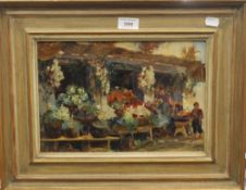 FRENCH SCHOOL, The Flower Stall, oil on board, signed with monogram and dated '99, framed.