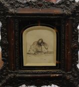 A 19th century ink sketch of a figure writing, inscribed to reverse ''Edward Leah 1863'',