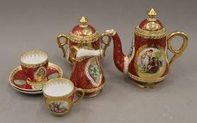 A Continental porcelain tea set