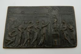 A small 19th century bronze plaque. 10 cm wide.