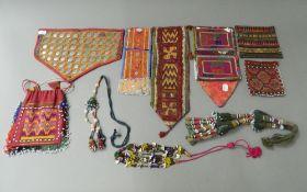 A small quantity of Native American beaded fabrics