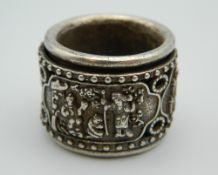 A Chinese silver archers ring.