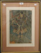 A 19th century Japanese woodcut depicting a warrior, framed and glazed. 23.5 x 35 cm.