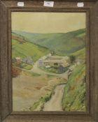 L BARNARD, Rural Village Scene, oil on canvas, dated 1914, framed. 40 x 30 cm.