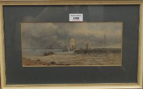 C H HARRISON, Boats off Yarmouth Harbour, watercolour, signed and dated 1879, framed and glazed.