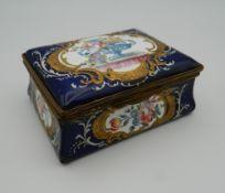 A 19th century enamel box. 8.5 cm wide.