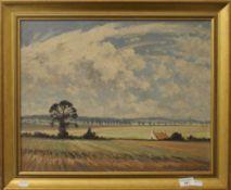 HUGH BOYCOTT BROWN, East Anglian Landscape, oil on board, framed. 49.5 x 40 cm.
