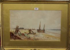 THOMAS SIDNEY, Kingsdown, Kent, watercolour, dated 1914, framed and glazed. 50 x 30 cm.