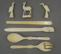 A quantity of various late 19th/early 20th century ivory items. The largest 26.5 cm long.