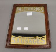 A Palethorpes Sausages advertising mirror. 26.5 x 34.5 cm.
