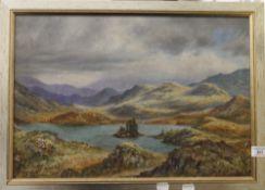 Scottish Loch Scene, oil on board, framed. 49.5 x 34 cm.