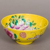 A Chinese yellow ground crackle glaze porcelain bowl The interior decorated with a fruiting spray,