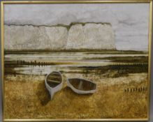JOHN RIDGEWELL (1937-2004) British (AR), Coast, Two Boats, oil on canvas, signed,