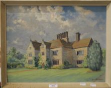 JANE WHITTAKER, English Manor House, oil on board, framed. 44.5 x 35 cm.