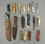 A collection of various penknives, etc. The largest 22 cm long.