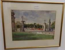 ROSE FORSTER (20th century) British, Buckingham Palace, watercolour, framed and glazed. 37 cm wide.
