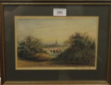 ALFRED MADOCKS, Near Chelmsford, watercolour, signed and dated 1870, framed and glazed. 24 x 15 cm.