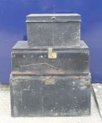 Two Victorian tin trunks and a deed tin