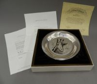 A sterling silver dish decorated with a giraffe by BERNARD BUFFET, boxed with certificate.