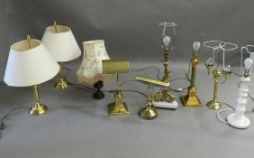 A quantity of various table lamps