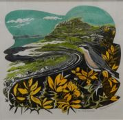 PENNY BHADRESA, lino-cut print 'To the Coral Beaches', numbered 11/40, framed and glazed. 25.