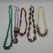 A quantity of various bead necklaces