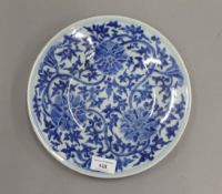 A late 19th century Chinese porcelain blue and white dish painted with three flower heads and