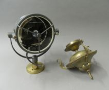 A vintage searchlight by Francis Searchlights, Bolton and a brass hanging light.