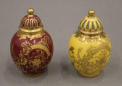 Two small Limoges porcelain lidded vases