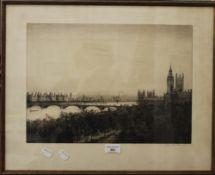 JOHNSTONE BAIRD, Westminster Bridge, signed to the margin, framed and glazed. 40 x 29 cm.