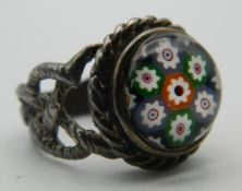 A silver and millefiori dress ring. Ring Size L/M.