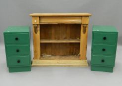 A Victorian pine chiffonier and a pair of green painted pot cupboards. The former 92 cm wide.