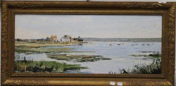 HARLEY CROSSLEY, Mudderford, oil on board, framed. 75 x 30.5 cm.