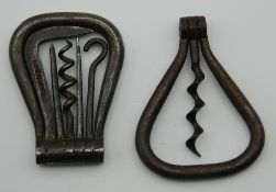 A 19th century steel bow corkscrew containing five tools, stamped Crane & Co,