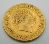 A George III 1820 gold sovereign