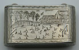 A 19th century vesta decorated with an early football match and boat race. 4.5 cm wide.