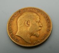 A 1909 Edward VII half sovereign