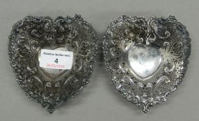 A pair of sterling silver pierced heart shaped bon bon dishes. 9.5 cm wide. 2.1 troy ounces.