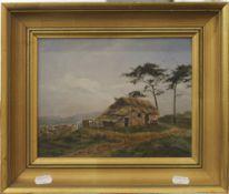 SCOTTISH SCHOOL, Croft, oil on canvas, framed. 24 x 19 cm.