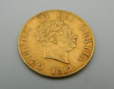 An 1817 George III half sovereign.